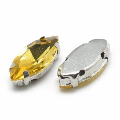 pja4m13-pai-09x18 apie 9 x 18 mm, 4 skylių, metalo spalva metalinis pagrindas, pailga forma, geltona spalva, prisiuvama juvelyrinė akutė, 3 vnt. 2