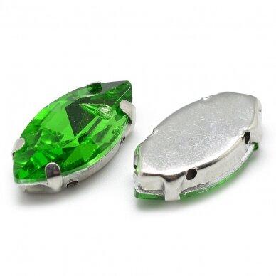 pja4m14-pai-07x15- apie 7 x 15 mm, 4 skylių, metalo spalva, metalinis pagrindas, pailga forma, žalia spalva, prisiuvama juvelyrinė akutė, 6 vnt. 2