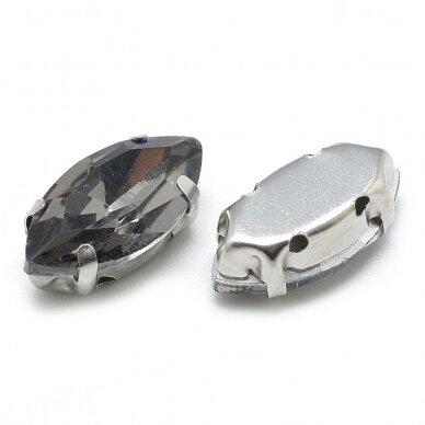 pja4m16-pai-05x10 apie 5 x 10 mm, 4 skylių, metalo spalva metalinis pagrindas, pailga forma, pilka spalva, prisiuvama juvelyrinė akutė, 6 vnt. 2