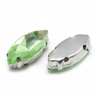pja4m23-pai-09x18 apie 9 x 18 mm, 4 skylių, metalo spalva, metalinis pagrindas, pailga forma, žalia spalva, prisiuvama juvelyrinė akutė, 3 vnt.