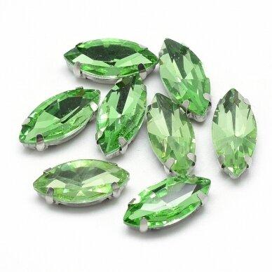 pja4m23-pai-09x18 apie 9 x 18 mm, 4 skylių, metalo spalva, metalinis pagrindas, pailga forma, žalia spalva, prisiuvama juvelyrinė akutė, 3 vnt. 2