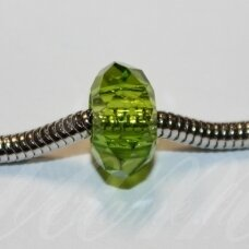 pka0493about 10 x 15 mm, faceted, pandora bead, light green color, 1 pc.