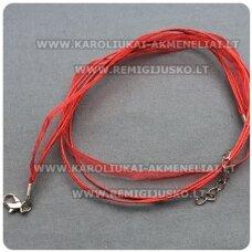 PKIT0006 apie 43 cm, raudona spalva, organzos ir vaškuoto siūlo ruošinys vėriniui, 1 vnt.