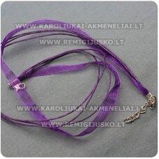PKIT0008 apie 43 cm,  violetinė spalva, organzos ir vaškuoto siūlo ruošinys vėriniui, 1 vnt.