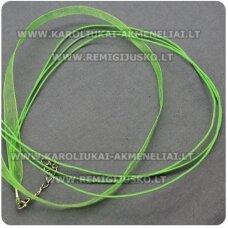 PKIT0010 apie 43 cm, žalia spalva, organzos ir vaškuoto siūlo ruošinys vėriniui, 1 vnt.