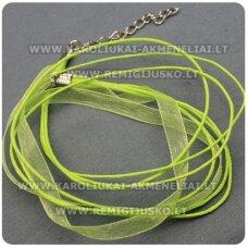 PKIT0011 apie 43 cm, salotinė spalva, organzos ir vaškuoto siūlo ruošinys vėriniui, 1 vnt.