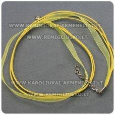 PKIT0012 apie 43 cm, geltona spalva, organzos ir vaškuoto siūlo ruošinys vėriniui, 1 vnt.