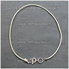 pkit0062 about 2 mm, white color, leather string with buttoning, 22 cm.