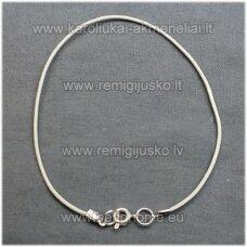 PKIT0063 apie 2 mm, balta spalva, odinė virvutė su užsegimu, 23 cm.