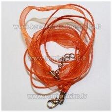 PKIT0120 apie 43 cm, oranžinė spalva, organzos ir vaškuoto siūlo ruošinys vėriniui, 1 vnt.