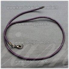 pkit0163 apie 3 x 230 mm, tamsi, violetinė spalva, odinė virvutė su užsegimu, 1 vnt.
