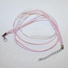 PKIT0171 apie 43 cm, šviesi, rožinė spalva, organzos ir medvilninio siūlo ruošinys vėriniui, 1 vnt.