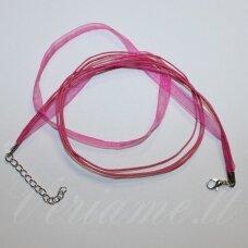 PKIT0172 apie 43 cm, rožinė spalva, organzos ir medvilninio siūlo ruošinys vėriniui, 1 vnt.