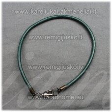 pkit0215 about 3 x 830 mm, dark, green color, leather string with buttoning, 1 pc.