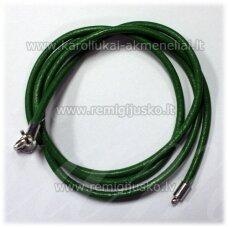 pkit0220 apie 3 x 630 mm, žalia spalva, odinė virvutė su užsegimu, 1 vnt.