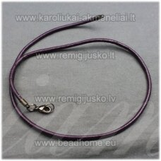 pkit0223 about 3 x 830 mm, dark, purple color, leather string with buttoning, 1 pc.