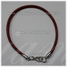 pkit0224 about 3 x 210 mm, red color, leather string, clasp, metal color, 1 pc.