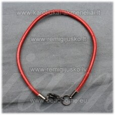 pkit0226 about 3 x 240 mm, red color, leather string, clasp, metal color, 1 pc.