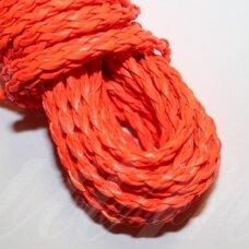 PKIT0262 apie 3 mm, oranžinė spalva, pinta, dirbtinės odos virvutė, 5 m.