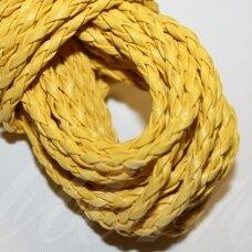 PKIT0264 apie 3 mm, geltona spalva, pinta, dirbtinė oda, virvutė, 5 m.