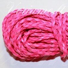 PKIT0270 apie 5 mm, rožinė spalva, pinta, dirbtinės odos virvutė, 2.5 m.