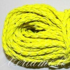 PKIT0271 apie 5 mm, geltona spalva, pinta, dirbtinės odos virvutė, 2.5 m.