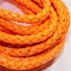PKIT0279 apie 5 mm, oranžinė spalva, pinta, dirbtinė oda, virvutė, 2.5 m.