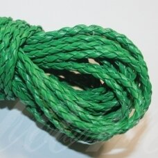 PKIT0296 apie 3 mm, žalia spalva, pinta, dirbtinė oda, virvutė, 5 m.