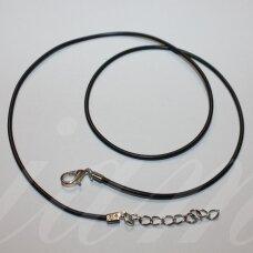pkit0307 apie 1.5 x 450 mm, juoda spalva, kaučiukinė virvutė, suspaustas užsegimas, metalo spalva, 1 vnt.