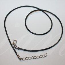 pkit0308.5 apie 1.5 x 600 mm, juoda spalva, kaučiukinė virvutė, klijuotas užsegimas, metalo spalva, 1 vnt.