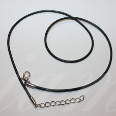 pkit0307.5 about 1.5 x 450 mm, black color, rubber string, glued clasp, metal color, 1 pc.
