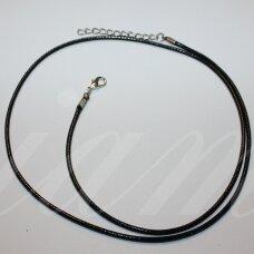 pkit0313 apie 1 x 600 mm, juoda spalva, odinė virvutė, suspaustas užsegimas, metalo spalva, 1 vnt.