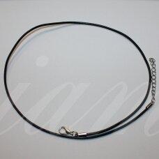 pkit0314.5 apie 1.5 x 450 mm, juoda spalva, odinė virvutė, klijuotas užsegimas, metalo spalva, 1 vnt.