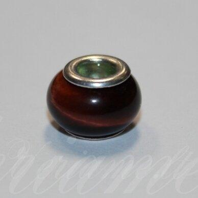 PKA0487apie 10 x 15 mm, jaučio akis, pandoros karoliukas, 1 vnt.