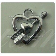 PM0003 apie 20 x 20 mm, metalinis pakabukas, širdutės forma, 1 vnt.