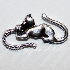 PM0035 apie 27 x 14 mm, metalo spalva, pakabukas, katės forma, 1 vnt.