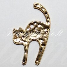 pm0046 apie 27 x 17 mm, auksinė spalva, pakabukas, katės forma, 1 vnt.