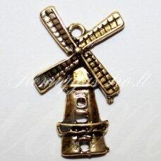 pm0047 apie 28 x 17 mm, auksinė spalva, pakabukas, malūnas, 1 vnt.