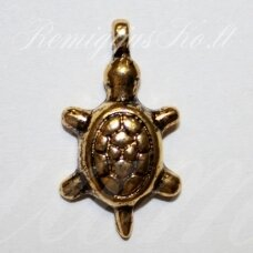 pm0055 apie 22 x 12 mm, auksinė spalva, pakabukas, vėžliuko forma, 1 vnt.