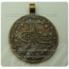 pm0118 apie 33 x 25 x 2.5 mm, žalvario spalva, pakabukas, moneta, 1 vnt.