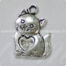 pm0164 apie 22 x 14 x 2 mm, metalo spalva, pakabukas, katės forma, 1 vnt.