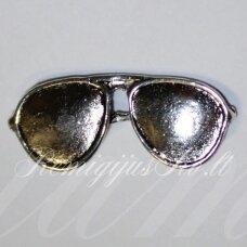 PM0225 apie 12 x 29 mm, metalo spalva, pakabukas, akiniai, 1 vnt.
