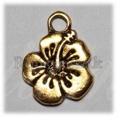 pm0323 apie 17 x 13 mm, auksinė spalva, pakabukas, gėlytės forma, 1 vnt.