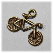pm0347 apie 13 x 17 mm, žalvario spalva, pakabukas, dviratis, 1 vnt.