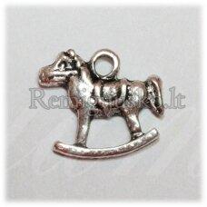 PM0379 apie 14 x 15 mm, metalo spalva, pakabukas, arkliukas, 1 vnt.