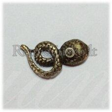 pm0391 apie 11 x 21 mm, žalvario spalva, pakabukas, gyvatė, 1 vnt.