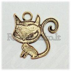 pm0404 apie 20 x 20 mm, auksinė spalva, pakabukas, katės forma, 1 vnt.