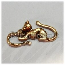 pm0420 apie 28 x 13 mm, auksinė spalva, intarpas, katės forma, 1 vnt.