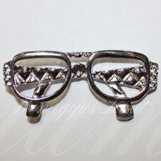 PM0432 apie 28 x 63 mm, metalo spalva, pakabukas, akiniai, 1 vnt.