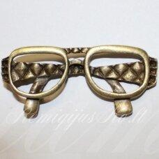 pm0435 apie 28 x 63 mm, žalvario spalva, pakabukas, akiniai, 1 vnt.